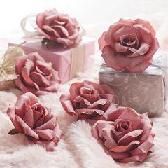 Mauve Rose Clips, Set of 6,