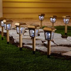Golden Solar Lights, Set of 8,
