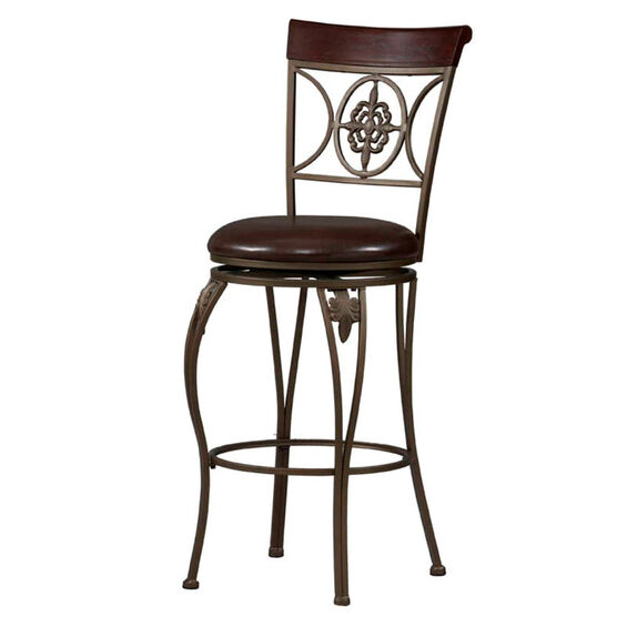 Fleur De Lis Bar Stool, 30'H, BROWN