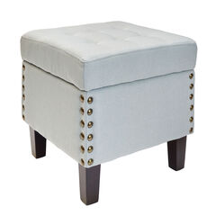 Vienna Tufted Ottoman Storage Bench, SKY GRAY