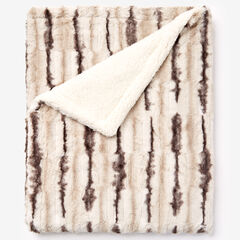 Faux Fur Animal Print Blanket, CHINCHILLA PRINT