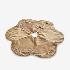 Scallop Edge Border Christmas Tree Skirt , GOLD