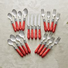 20-Pc. Amber Flatware Set, RED