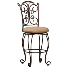 "Gathered Back Counter Stool, 24""H,"