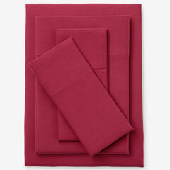 Cotton Flannel Print Sheet Set, CRANBERRY