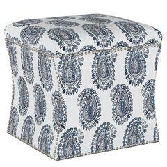 Block Paisley Nail Button Storage Ottoman,