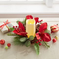 "Amaryllis 12"" Candle Ring with LED Candle,"