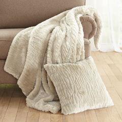 Textured Faux Fur Throw,