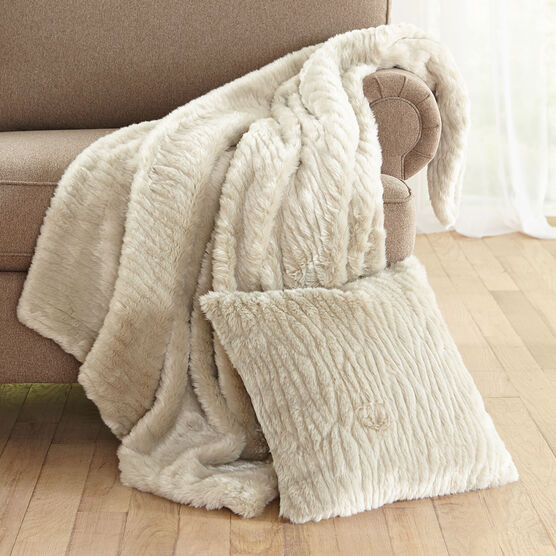 Textured Faux Fur Throw, GRAY