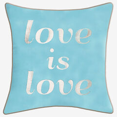 "Embroidered ""Love Is Love"" Decorative Pillow, MINERAL BLUE"