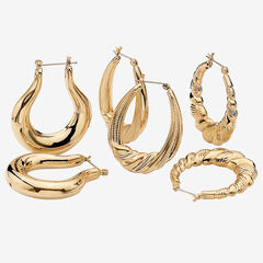 Goldtone Smooth and Textured 3 Piece Set Hoop Earrings (33mm),
