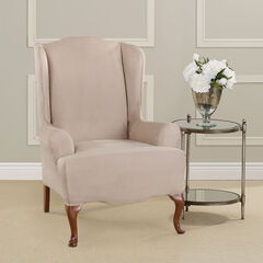 Ultimate Stretch Faux Suede Wing Chair Cushion Slipcover ,
