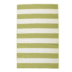 Large Rugby Stripe Rug , LIME