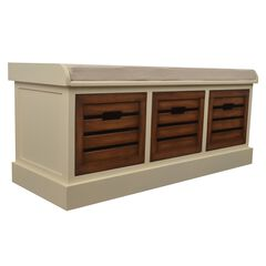 White Honeynut 3-Drawer Bench by J. Hunt,