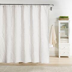 Raphaela European Matelassé Shower Curtain, WHITE