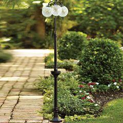Triple-Bulb Crackle Solar Lamp,