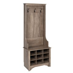 Narrow Hall Tree with 9 Shoe Cubbies,