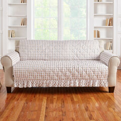 Gingham Ruffled Waterproof Microfiber Sofa Protector, TAUPE WHITE