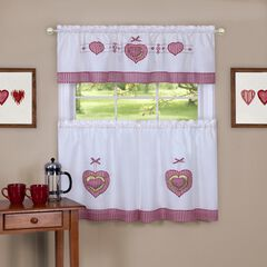 Gingham Hearts Embellished Tier and Valance Window Curtain Set, MULTI