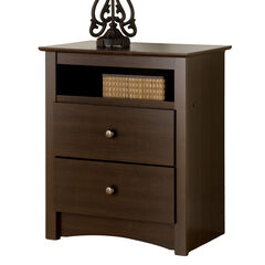Fremont Espresso 2 Drawer Tall Night Stand with Open Shelf,