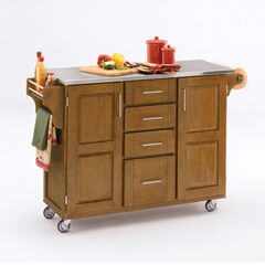 Large Cottage Oak Finish Create a Cart with Stainless Steel Top,