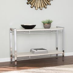 Camelia Faux Stone Console Table with Shelf,