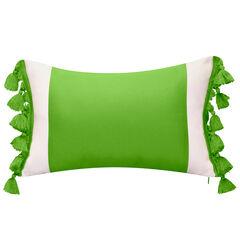 Indoor & Outdoor Colorblock Tassel Fringe Lumbar Decorative Pillow,