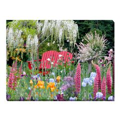 Mixed Flowers and Bench Outdoor Canvas Art,