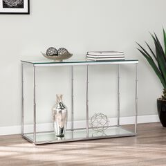 Arbella Glass Console Table with Mirrored Shelf,