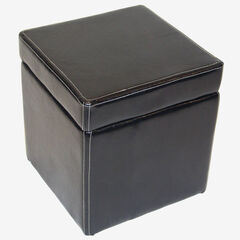 Faux Leather Box Ottoman with Lift Top,