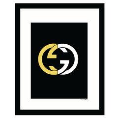Gucci Logo Gold & White - White / Gold - 14x18 Framed Print,
