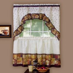 Coffee Printed Tier and Swag Window Curtain Set,
