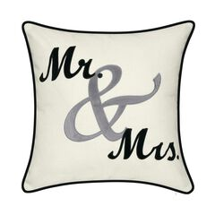 "Celebrations """"Mr. & Mrs."""" Cursive Embroidered Applique Decorative Pillow ,"