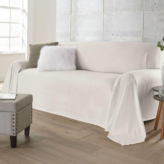 Dani Dropcloth-Style Sofa Cover , IVORY