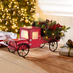 "17""L Pre-Lit Red Truck with Greenery,"