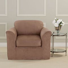 Ultimate Stretch Faux Suede Chair Cushion Slipcover, LUGGAGE