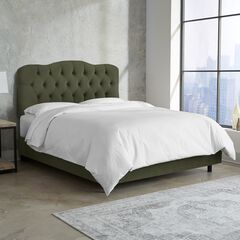 Velvet Tufted Bed, VELVET LODEN