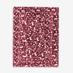 Cotton Flannel Print Sheet Set, CRANBERRY REINDEER