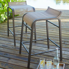 Set Of 2 Textured Vinyl Bar Stools,