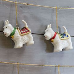Scottie Dog Ornaments, Set of 2,