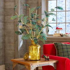 Plaid Sparkle Tree Picks, Set of 5,