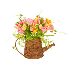 Watering Can Floral Wall Basket,