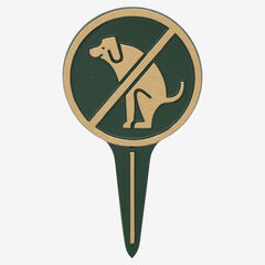 No Dog Poop Round Courtesy Lawn Stake,