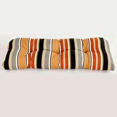 Tufted Wicker Settee Cushion, BELLA SANDSTONE