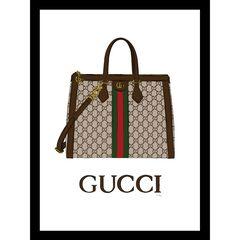 "Gucci Bag Brown 14"" x 18"" Framed Print,"