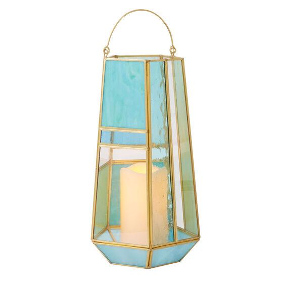 "13""H Mosaic Lantern, BLUE GREEN"