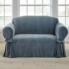 Velvet Loveseat Slipcover , BLUE HAZE