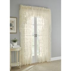 Floral Vine Rod Pocket Curtain, IVORY