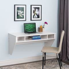 Designer Floating Desk, White,