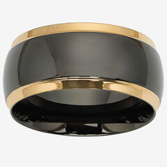 Stainless Steel Black and Gold Ion Plated Wedding Band Ring,